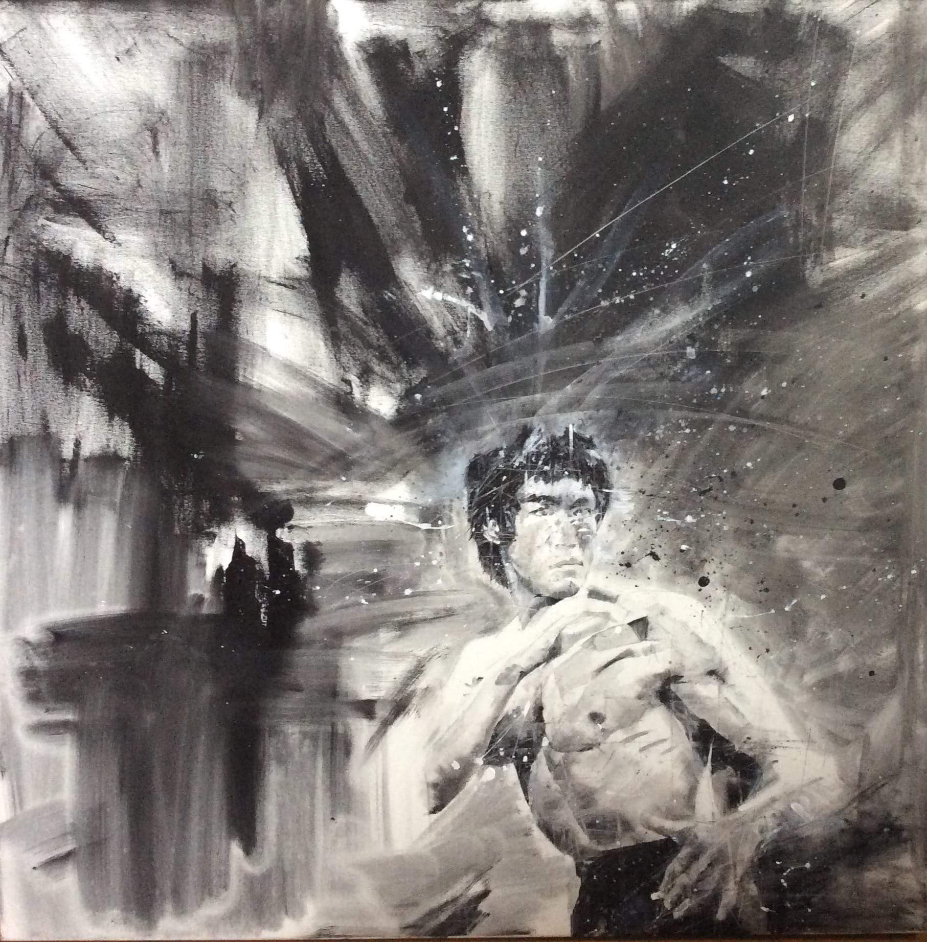 Claires black gloves - 100cm X 100 Cm Original Painting Of Bruce Lee Donated By Professional Artist Claire Allen Brunn